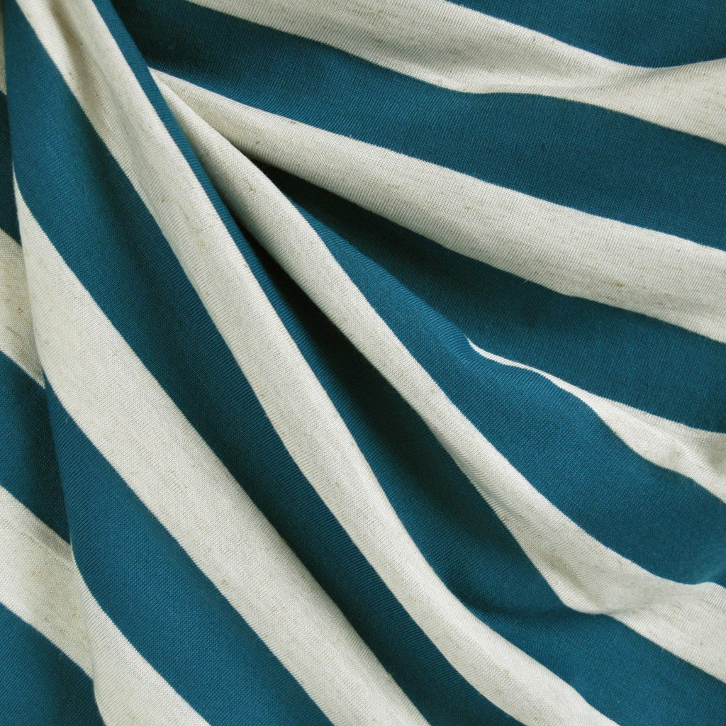 Jersey Knit Wide Stripe Aqua/Oatmeal - Sold Out - Style Maker Fabrics