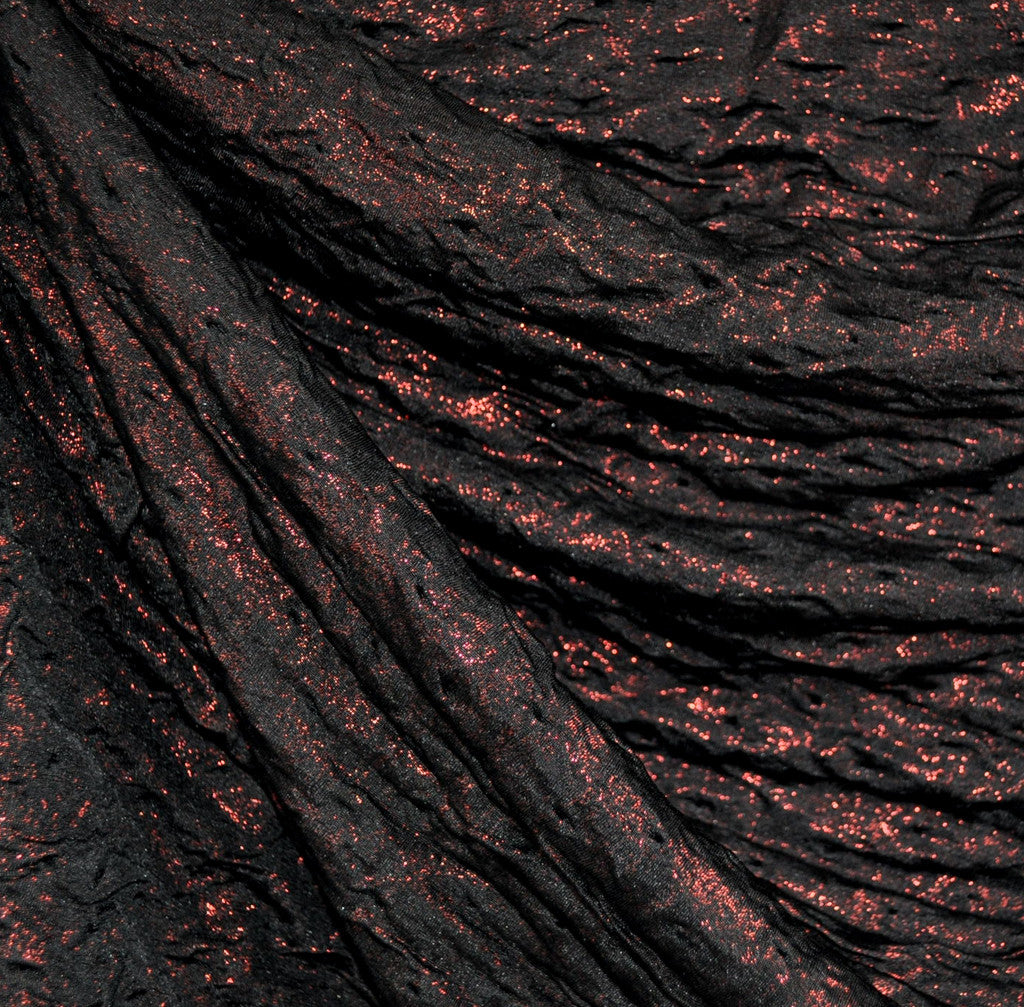 Metallic Textured Double Knit Black/Red - Sold Out - Style Maker Fabrics
