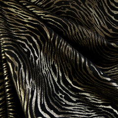 Metallic Zebra Print Ponte Knit Black/Gold - Sold Out - Style Maker Fabrics