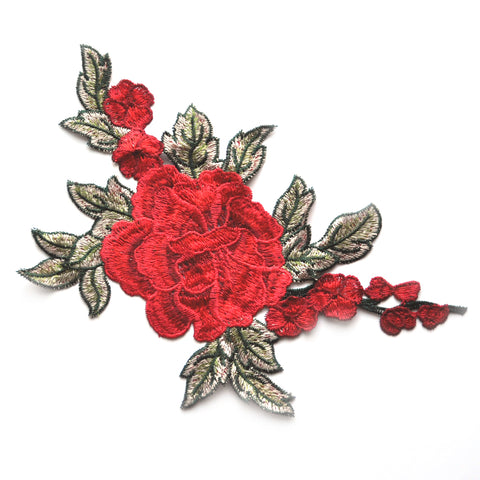 Japanese Floral Applique Applique Red/Olive