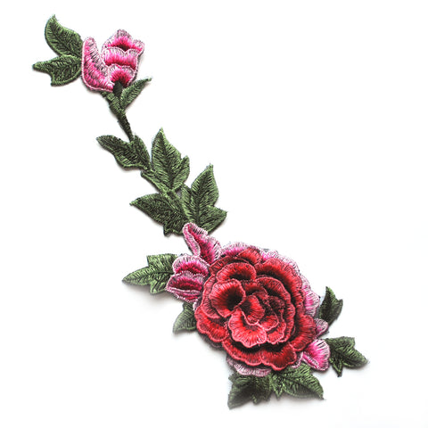 Dimensional Rose Vine Applique Red/Pink