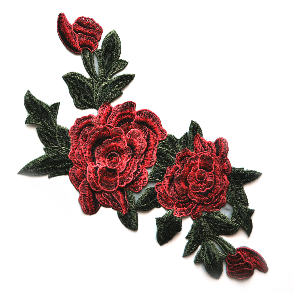 Large Dimensional Rose Applique Red/Green - Sold Out - Style Maker Fabrics