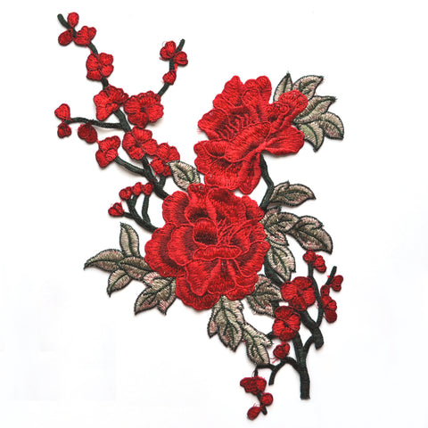 Japanese Floral Branch Applique Red/Olive