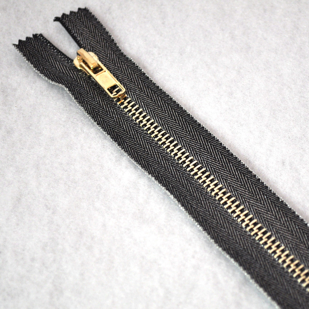 Metallic Accent Zipper 8 inch Gunmetal/Gold - Sold Out - Style Maker Fabrics