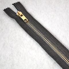 Metallic Accent Zipper 8 inch Gunmetal/Gold - Notions - Style Maker Fabrics