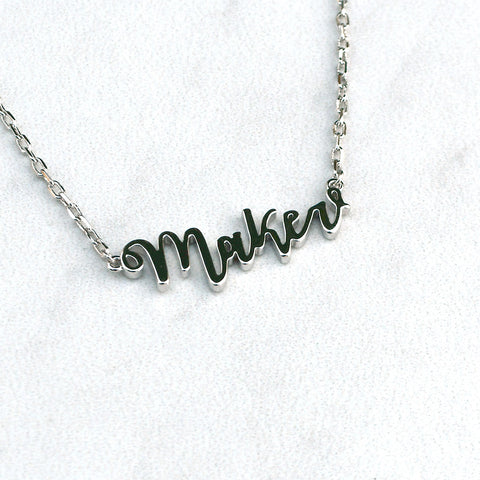 Maker Script Necklace