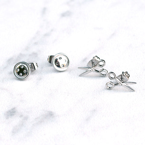 Scissor & Button Earring Set
