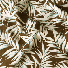 Japanese Tropical Leaves Bark Cloth Chocolate/Aqua - Sold Out - Style Maker Fabrics