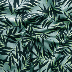 Japanese Tropical Leaves Bark Cloth Navy/Aqua - Sold Out - Style Maker Fabrics