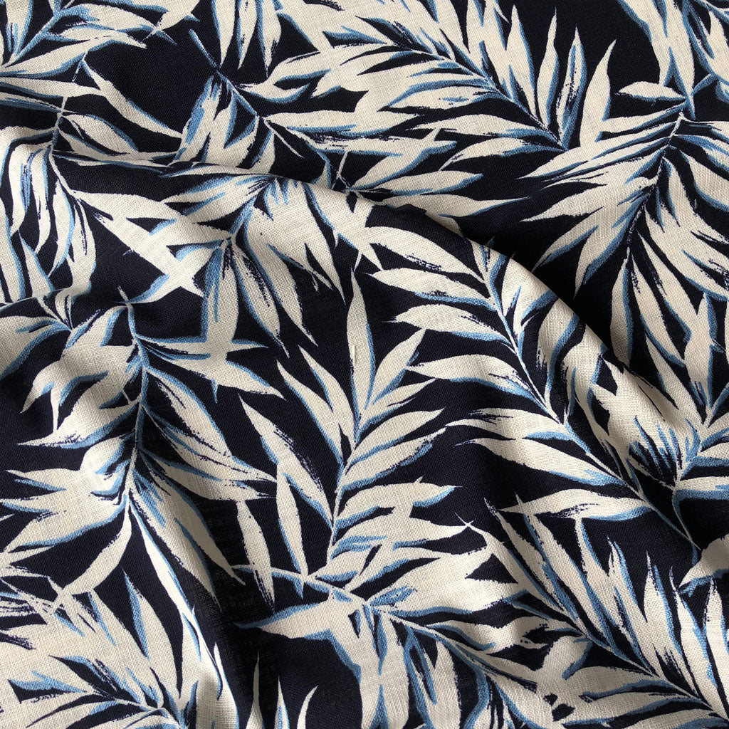 Japanese Tropical Leaves Bark Cloth Navy/Blue - Sold Out - Style Maker Fabrics