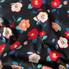Japanese Retro Floral Bark Cloth Black - Sold Out - Style Maker Fabrics