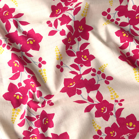 Japanese Vine Floral Bark Cloth Fuchsia
