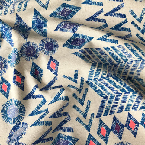Japanese Tribal Geometric Linen Canvas Royal