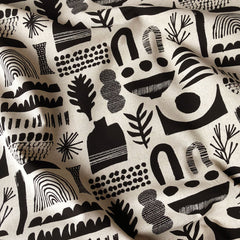 Japanese Block Print Linen Canvas Black - Sold Out - Style Maker Fabrics