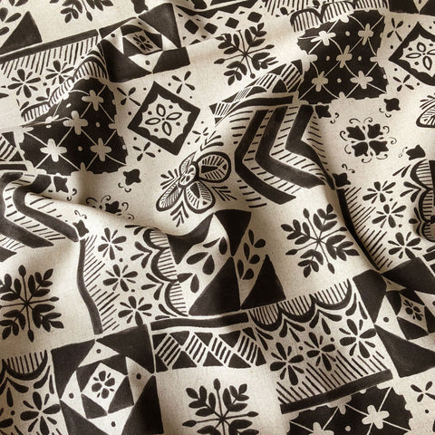 Japanese Patchwork Print Linen Canvas Black