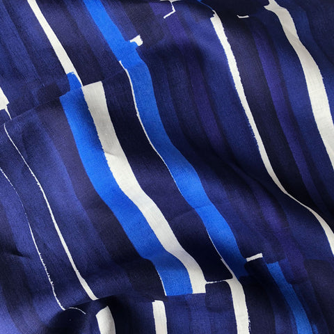 Japanese Nani Iro Brushstroke Stripe Linen Royal