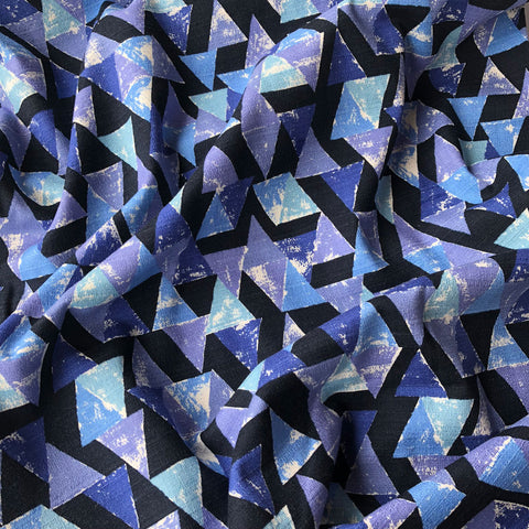 Japanese Triangle Mosaic Bark Cloth Shirting Royal