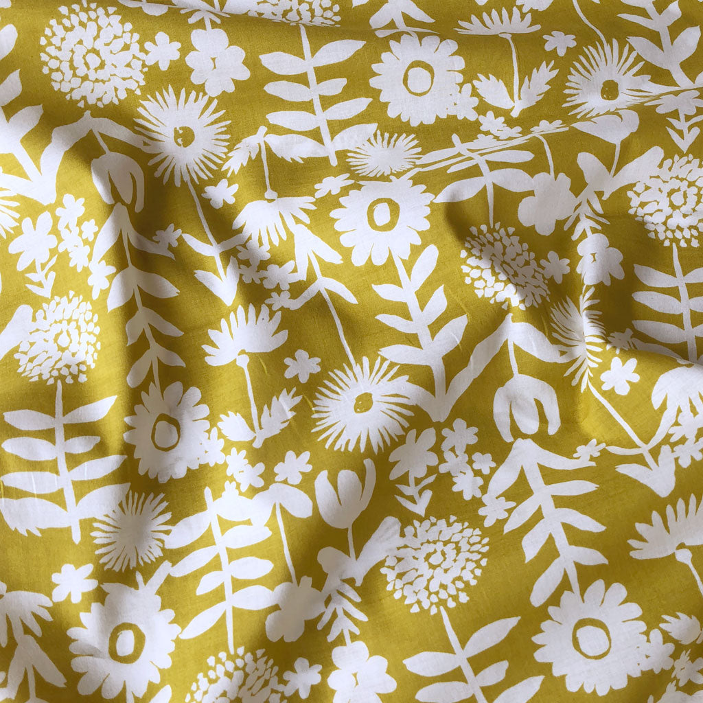 Japanese Floral Outline Cotton Lawn Goldenrod SY - Sold Out - Style Maker Fabrics