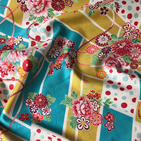 Japanese Layered Floral Cotton Shirting Gold/Aqua