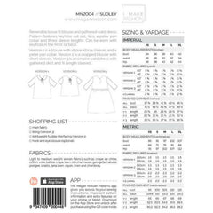 Megan Nielsen Patterns Sudley Blouse - Sold Out - Style Maker Fabrics
