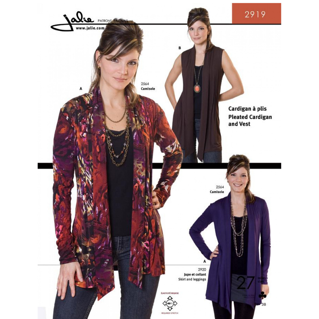 Jalie Sewing Patterns Pleated Cardigan and Vest - Patterns - Style Maker Fabrics