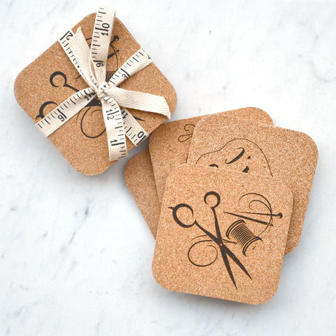 Sewing Themed Cork Coasters - Set of 4