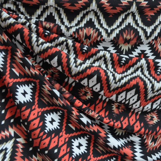 Jersey Knit Aztec Chevron Black/Coral SY - Sold Out - Style Maker Fabrics