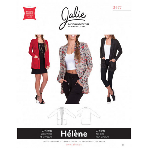Jalie Sewing Patterns Hélène Shawl Collar Cardigan