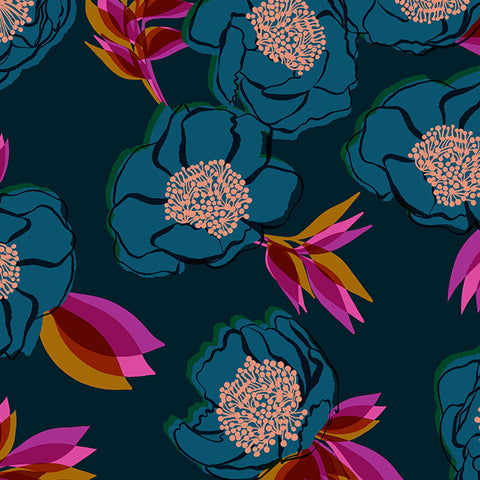 Rise Ultra Wide Statement Floral Cotton Sateen Dark Teal—Preorder
