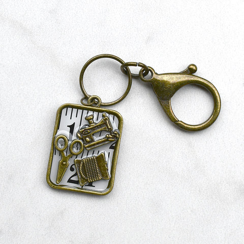 Sewing Charm Metal Clasp Keychain