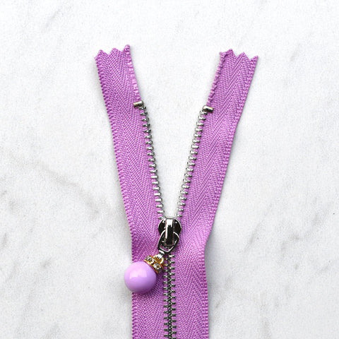 Decorative Zipper with Bead Pull - 12 inch