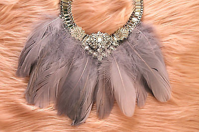 Gatsby Luxette Feather Jewel Necklace Chain Sliver Crystal (SILVER)