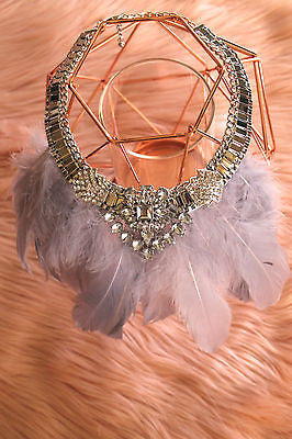 Gatsby Luxette Feather Jewel Necklace Chain Sliver Crystal (SILVER) - Willow Rose Boutique