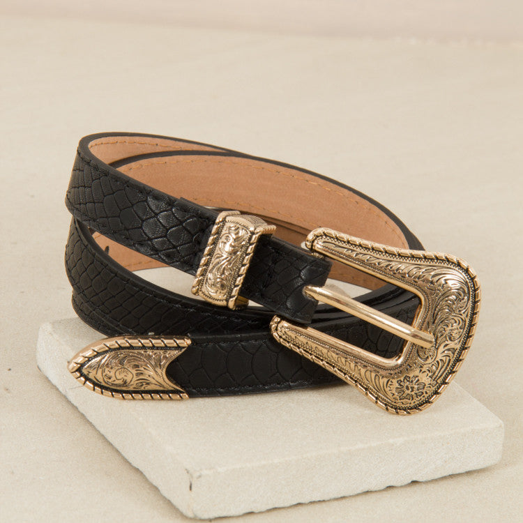 Western Buckle Leather Belt - Black