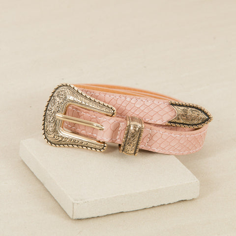 Western Buckle Leather Belt - Pink - Willow Rose Boutique