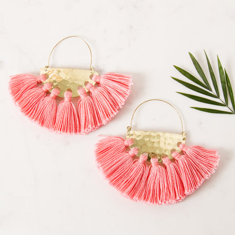 Fringe Earrings - Pink