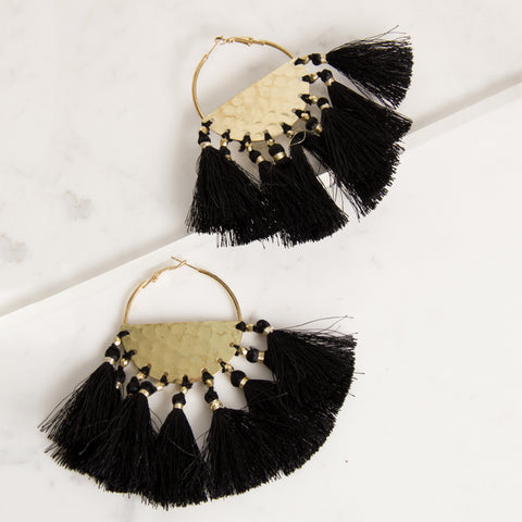 Luxe Tassel Fringe Earrings - Black