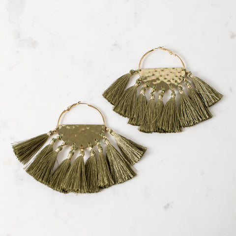 Luxe Tassel Fringe Earrings - Khaki