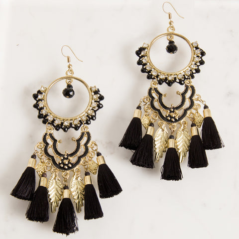 Diamante Leaf and Tassel Drop Earrings