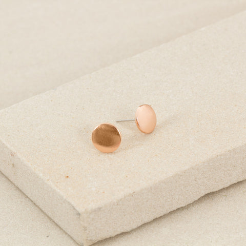 Mini Flat Disc Stud Earrings - Rose Gold