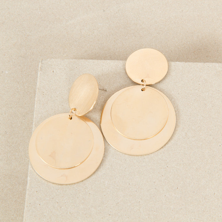 Circle Layered Disc Earrings - Gold