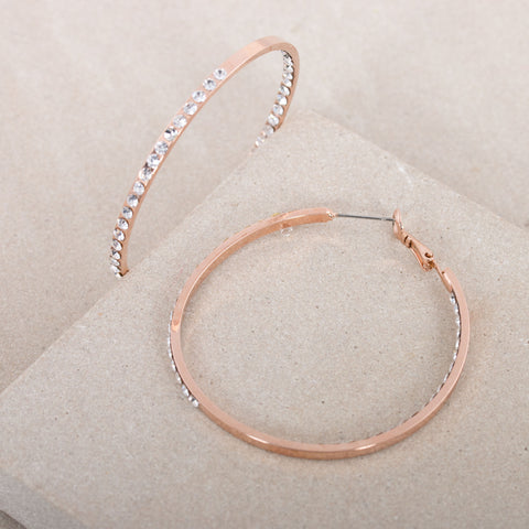 Diamante Medium Hoop Earrings - Rose Gold