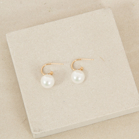 Mini Hoop Pearl Drop Earrings