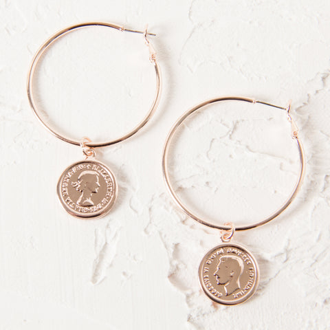 Coin Hoop Earrings - Rose Gold