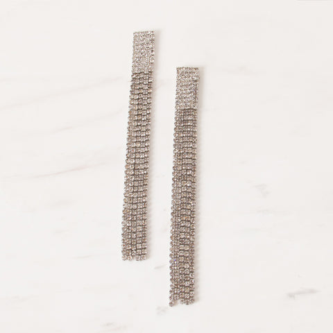 Diamante Statement Drop Earrings - Silver
