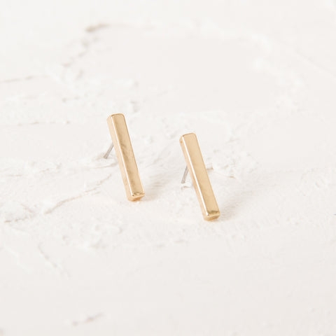 Rod Stud Earrings - Gold