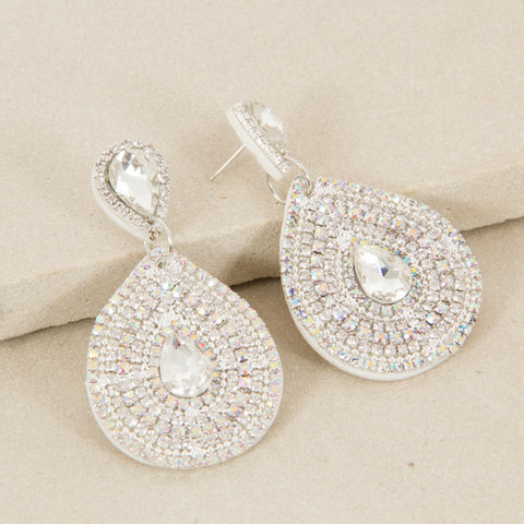 Double Teardrop Earrings - Silver