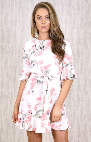 Floral Print Dress With Ruffle - White