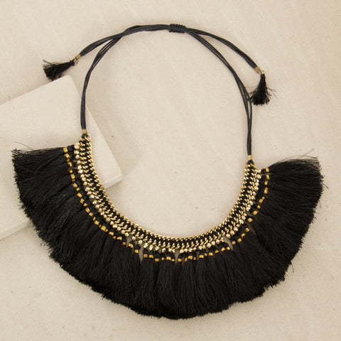 Luxe Tassel Tie Back Collar - Black