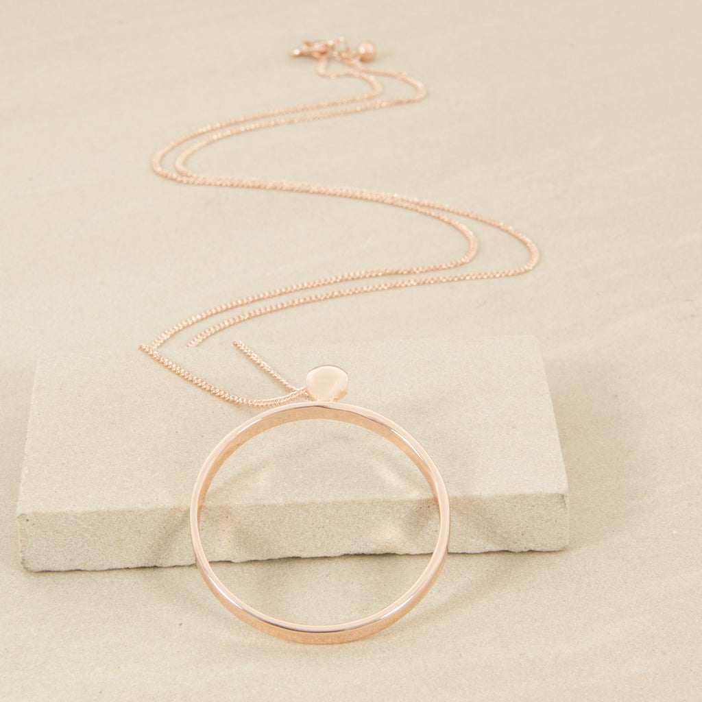 Fine Facet Chain With Ring Necklace - Rose Gold